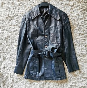 Vintage Genuine leather navy blue jacket s…